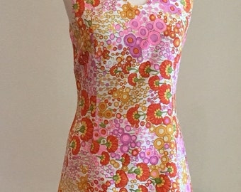 1960s Vintage Floral Shift Dress - Casual Day Dress - Summer - Op Art Abstract Floral - Pink Orange Yellow Purple - Sleeveless - 38 Bust