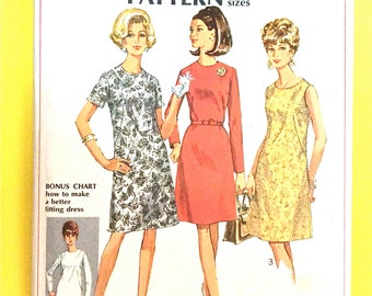 1960s Simplicity 7509 Basic Dress  collarless A line dress has back zipper Vintage Sewing Pattern Bust 43 inches