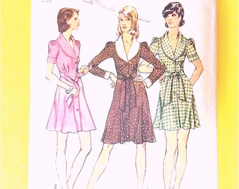 Simplicity 5843 70s Misses' Dress, Shawl Collar, Front Button Closing, Collar, Cuffs Simplicity 5843 Vintage Sewing Pattern Bust 31.5