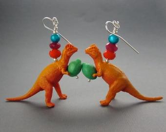 Dinosaurs Holding Limes, Sterling Silver Earrings