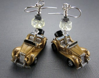 MG TF 1980s Micro Machines Earrings with Pineapple Quartz, Sterling Silver