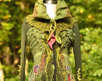 Custom boho sweater Coat for Jackie. Bespoke OOAK Fantasy clothing/refashioned up cycled outerwear/Pixie Woodland style clothing