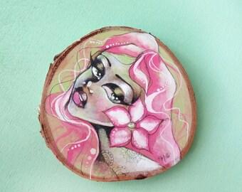 Pink Hair Cactus Flower Girl original art on birch wood slice