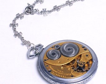 Steampunk Antique 1914 Elgin Pocket Watch Movement n Cross Chain Lariat Necklace