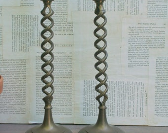 Awesome Vintage Tall Brass Candlesticks