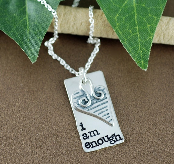 I am Enough Necklace, Inspirational Necklace, Personalized Mantra Jewelry, Sterling Silver Necklace, Hand Stamped Motivational Necklace