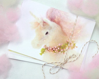 Set of four Unicorn Greeting Cards, blank card set, birthday or any occasion