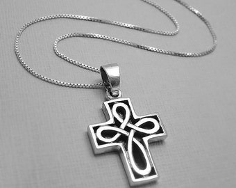 Cross Necklace, Godmother Gift Necklace, Sterling Silver Cross Necklace, Baptism Gift, Silver Necklace, Confirmation Gift, Christening Gift