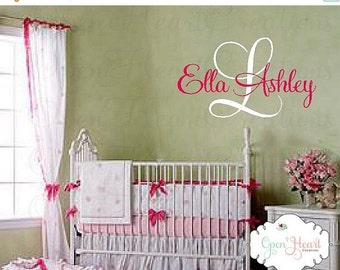 ON SALE Nursery Name Decal - Large Monogram Vinyl Wall Decal - Script Elegant Shabby Chic Design IN0012