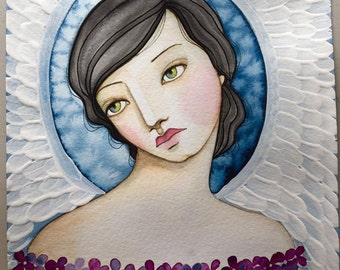 Indigo Angel Watercolor and Acrylic online class
