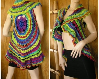 Crochet mandala vest, shrug, gypsy shawl, boho vest, hippie vest, festival vest in blended shades of the neon rainbow, one size fits most
