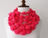 Infinity Scarf Loop Scarf Circle Scarf Cowl Scarf Hot Pink Long Fuchsia Crochet Bubble Scarf Neckwarmer with Removable Broche