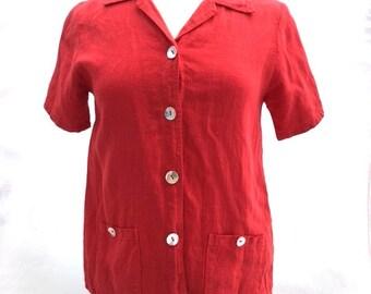 Vintage RED Linen Melrose Studio Button Up Blouse