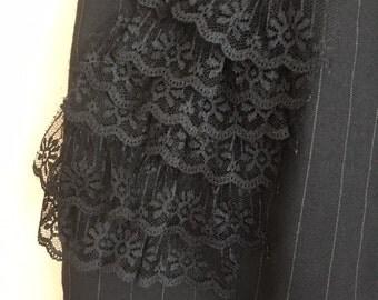 "Vintage Black PINSTRIPED LACE Mini Skirt / Womens Small - 28"" Waist"