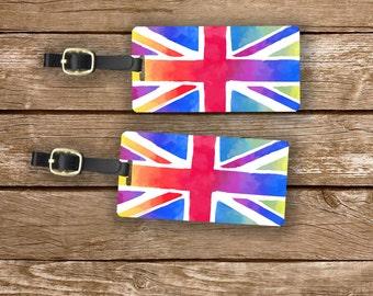 Luggage Tag Set British  Union Jack Flag England Trip Metal Luggage Tag Set With Custom Info On Back, 2 Tags Choice of Straps