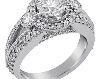 2.20ctw round cut antique style diamond engagement ring R182