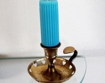 Vintage Brass Candleholder Chamber Candlestick Heart Cutouts Grip Handle