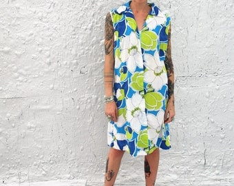 1960s Blue and Green Floral House Dress Zip Up Shift Dress Vintage Summer Muumuu M/L
