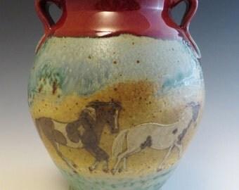 Vase  Paint Pinto Horses & Birch Trees