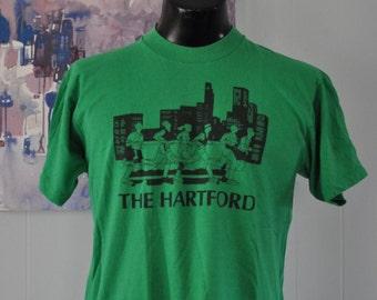 Vintage Tshirt 80s Tee Soft Thin Road Race Hartford CT Connecticut Running Sports Kelly Green  Large MEDIUM