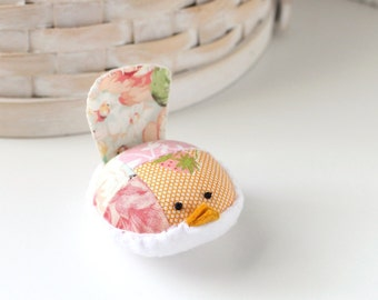 Pink and Peach Bird Pincushion Floral Pin Keep Small Pin Cushion Floral Handmade Pincushion