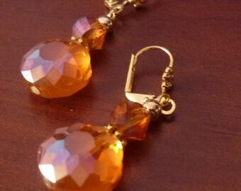 Amber Faceted Crystal Drop Earrings