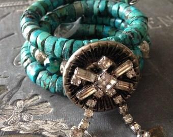 Bohemian Turquoise Vintage Rhinestone Wrap Bracelet Boho  Beach Jewelry Cowgirl Gypsy Chic