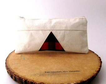 Triangle Pencil Case, Pencil Pouch, Toiletry Bag, Geometric, Natural Canvas Zipper Pouch, Cosmetic Bag, Red and Black Plaid, Mens Pencil Bag