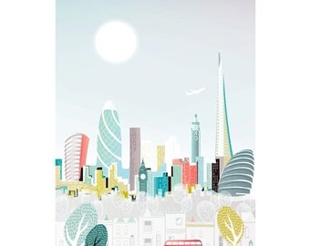 London Print, Skyline Paper Wall Art, London Bus, Paper poster print, Cityscape illustration, Home decor, Office and Nursery, Gift for