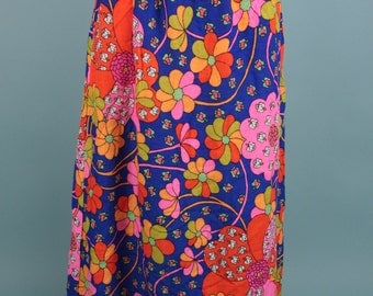Vintage 60s 70s Skirt Psychedelic Groovy Vibrant Floral Midi ~ Medium