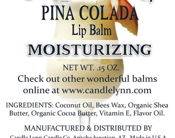 Pina Colada Lip Balm by Candle Lynn - Made with Organic Shea and Cocoa Butters