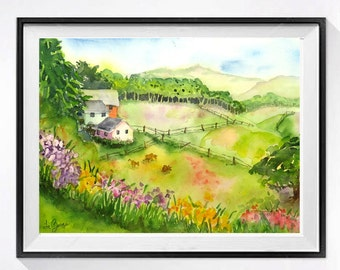 Nature field of wild flowers Watercolor Print, Landscape art watercolor painting, Farmhouse art farm landscape wall art farm painting