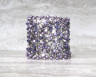 Wire & Pearl Cuff with Swarovski Crystals - Vine Bracelet in Purple Amethyst or Navy Blue