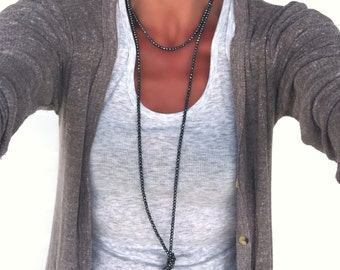 Double Wrap Necklace Beaded with Faceted Stones-Long Beaded Knot Necklace in Pewter Pyrite or Black Onyx/Gunmetal Grey Hematite 4253N 36-70""