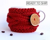 Valentines Gift for Her, Valentines Day Gift, Coffee Cozy, Coffee Mug Cozy, Coffee Cup Sleeve, Knit Cup Cozy, Coffee Cup Cozy, Coffee Sleeve