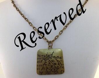RESERVED....Ladybug Necklace - Brass Necklace - Antique Brass Necklace -Boho Necklace - Ladybug