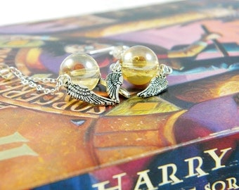 READY TO SHIP Magical Winged Snitch Charm Earrings on Sterling Silver Ear Wires