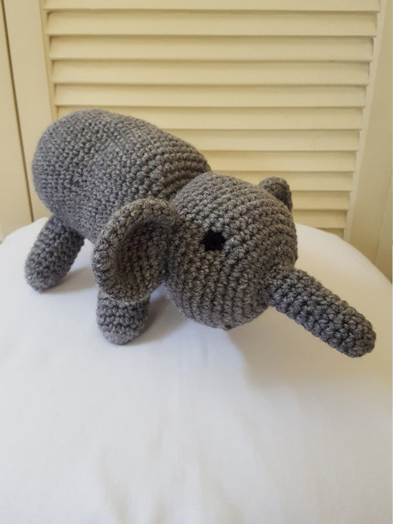 Crochet Gray Elephant Stuffed Animal / Crochet Doll