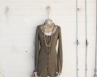Small Upcycled Free People knit dress/Romantic Dress/Upcycled Clothing/Memphis Baby Cowgirl/Cowpunk/Sweater Dress/Babydoll/Longsleeve Dress