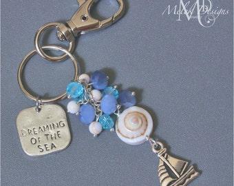 Nautical Key Chain, Purse Charm, Zipper Pull, Blue Cluster Beads, Shell