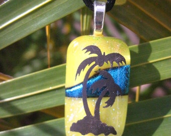 Fused Dichroic Glass Palm Tree Pendant