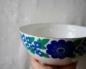 Vintage Arabia Finel Bowl Finland Kaj Franck Enamelware Esteri Tomula Mod Flowers