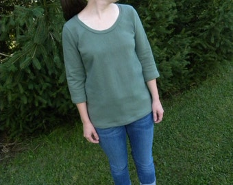 Small Sage Green Organic Cotton Sweatshirt Fleece Shirt with cropped sleeves Made in the USA - Organic Cotton Clothing