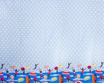 """Beach Umbrella Retro Pinup Girl Border Print, Gertie by Gretchen Hirsch Fabric, 43"""" wide, 1 yard"""