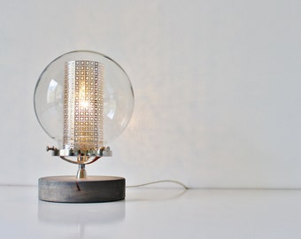 Globe Table Lamp, Industrial Chrome, Steel and Wood Desk Lamp, Round Clear Glass Orb Shade With Insert, Modern BootsNGus Lighting & Decor