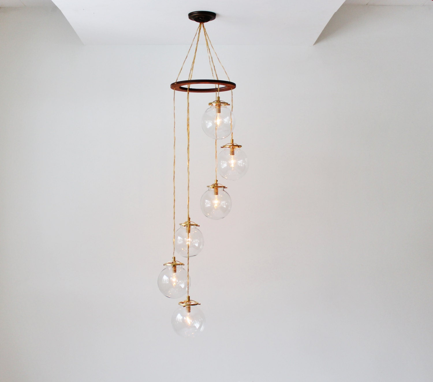 Globe chandelier spiral hanging chandelier light fixture 6 - Lighting and chandeliers ...