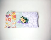 """Zipper Pouch, 9.75 x 4.75"""" in lavender, green, white, yellow and peach floral and polka dot Fabric with Handmade Felt Hedgehog, Pencil Case"""