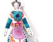 Small Flat Flower Lady Doll Ornament Handmade Modern Vintage Look Fabric Doll Decoration Embellished Art Doll Ornament