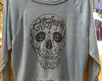 "Los Angeles Venice, CA Skull Art Print Ladies Raglan Pullover ""Sweatshirt"" American Apparel athletic Gray Tri-Blend S M or L"