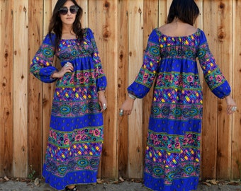 Vintage 70s Psychedelic BOHO FOLK MAXI Dress with Poet Sleeves S